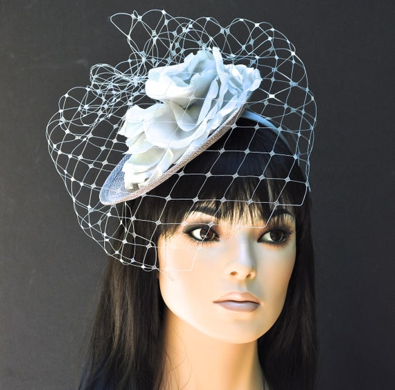 Wedding Hat & Veil, Fascinator Hat with Veil, ladies silver gray hat, women's gray hat, special occasion hat