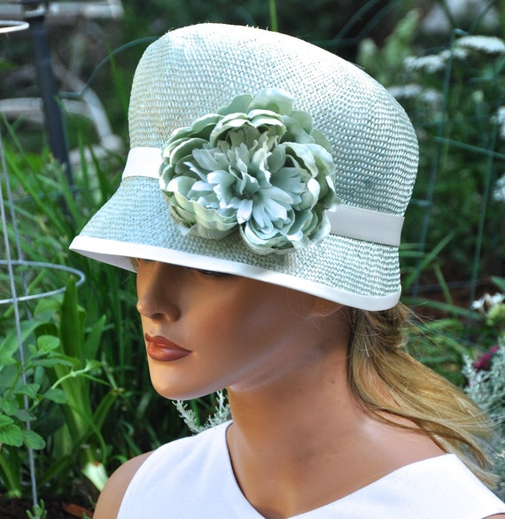 Downton Abbey Hat, Miss Fisher Hat, Cloche Hat, Wedding Hat, 1920s 1930s Hat, Women's Aqua Hat, Vintage Style Hat, Ladies Aqua Cloche,