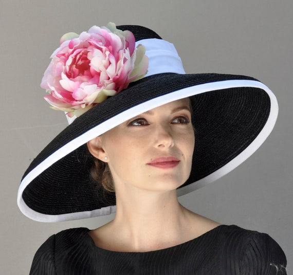 Kentucky Derby Hat, Women's Derby Hat, Church hat, Wedding Hat, Formal Hat, Royal Ascot Hat, Black and White Hat, Audrey Hepburn hat