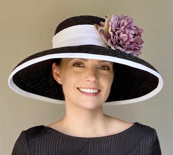 Kentucky Derby Hat, Wide Brim Hat, Black & White formal hat, Royal Ascot hat, Wedding Hat, Church Hat, Audrey Hepburn hat