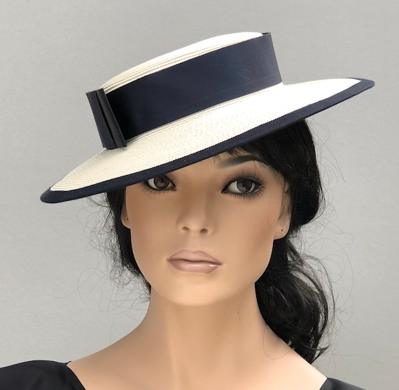 Ladies Boater Hat, Wedding Hat, Women's Kentucky Derby Hat, Black & White French Boater Hat, Formal English Boater Hat