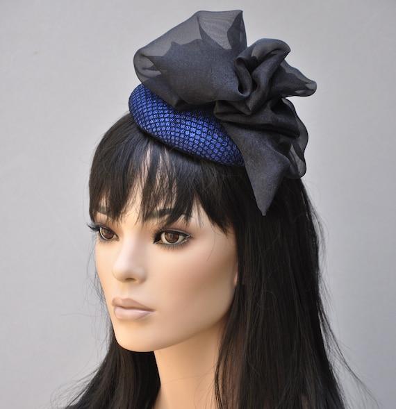 Kentucky Derby fascinator, Cocktail Hat, Blue fascinator, fascinator hat, blue and black fascinator