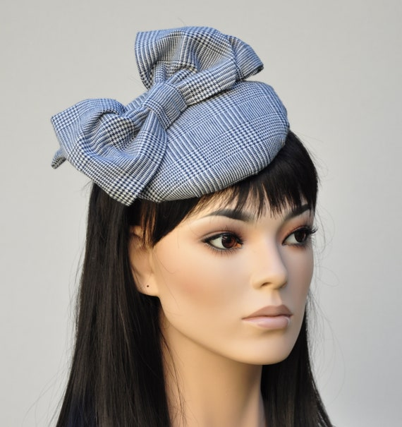 Black and White Winter Hat, Plaid Hat, Fascinator Hat, Fascinator, Formal Hat, Percher, Ladies Winter Hat