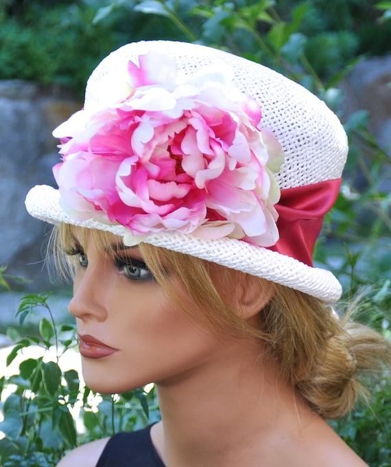 Tea Party Hat, Wedding Hat, Ladies Pink and White Hat, Kentucky Derby Hat