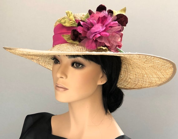 Kentucky Derby Hat, Wedding Hat, Wide Brim Hat, Women's formal Hat, Ladies Derby Hat