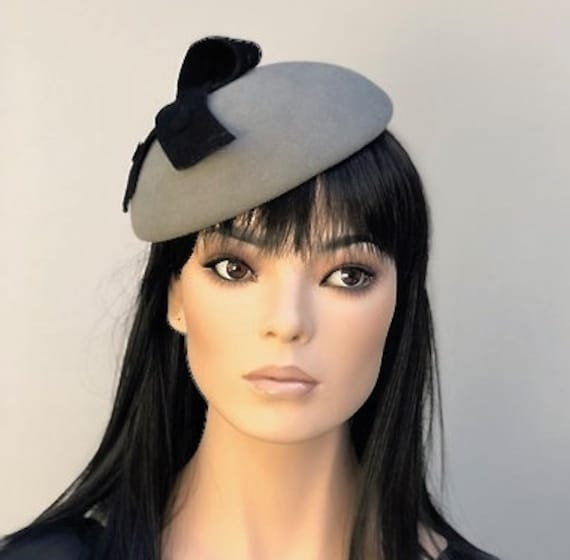 Gray Wool Felt Hat, Winter Fascinator Hat, Ladies Formal Hat, Women's Winter Fascinator, Cocktail Hat, Pillbox Hat