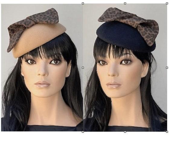 Ladies Leopard Felt Hat, Kate Middleton Hat, Women's Winter Leopard Hat, Formal Winter Hat, Camel Felt Hat, Black Felt Hat