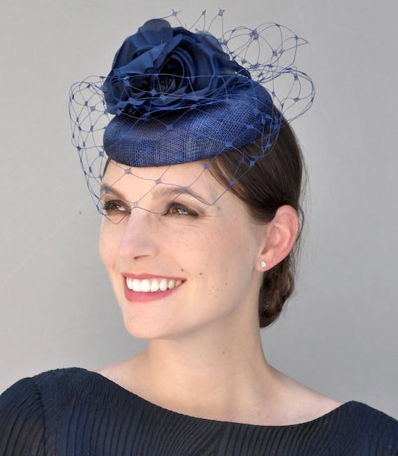 Navy Fascinator, Wedding Fascinator, Ladies Navy Hat, Wedding Hat, Formal Hat,  Occasion Hat