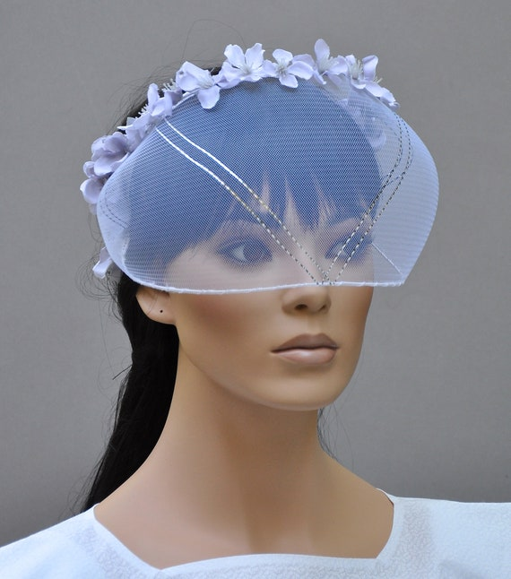 Bridal Headpiece, Wedding Veil Hat, Wedding Headpiece, Avant-Garde Headpiece, White Wedding Hat, Unique Headpiece Hat,
