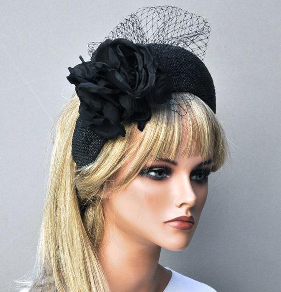 Women's Black Hat, Kate Middleton Hat, Crown Halo Headband Hat, Funeral Hat, Ladies Black Formal Hat, Church Hat