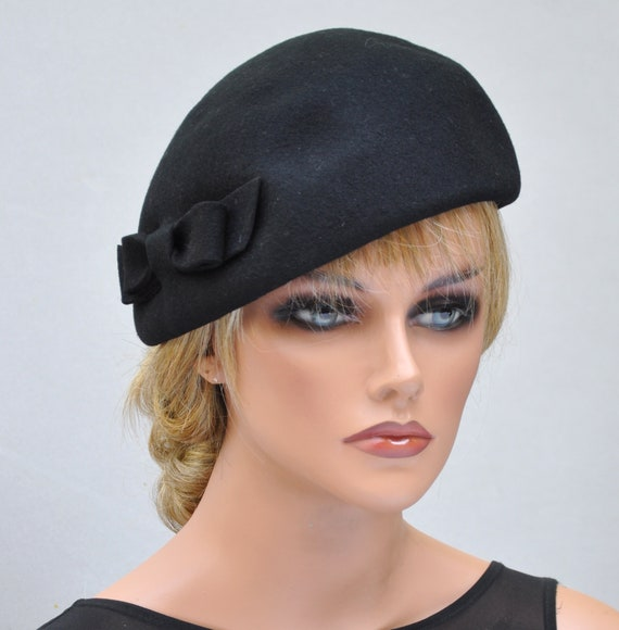 Fascinator Cocktail Hat, Women's Black Hat, Ladies Black Hat, Formal Winter Hat, Funeral Hat, Dressy Hat Dressy Winter Hat winter fascinator