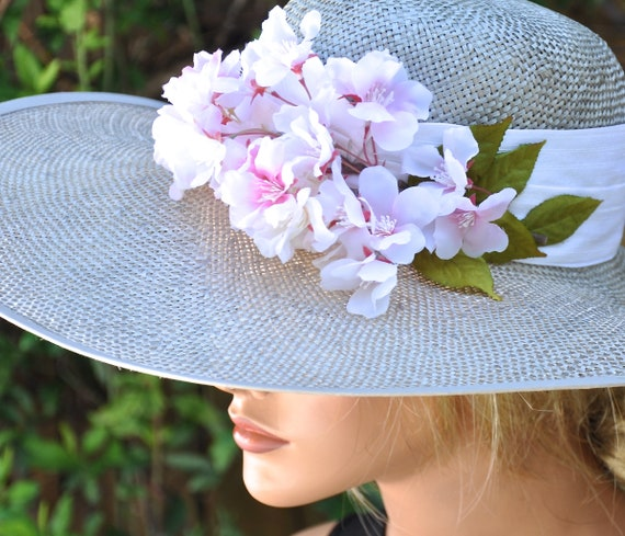 Derby Hat, Wedding Hat, Ascot Hat, Wide Brim Hat, Formal Hat, Occasion Hat, Cherry Blossoms, Elegant Summer Hat