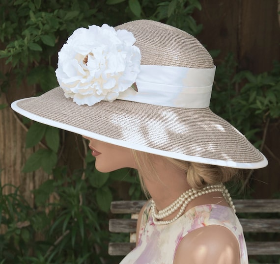 Wedding Hat, Formal Hat, Church Hat, Royal Hat, Women's Taupe Hat, Audrey Hepburn Hat