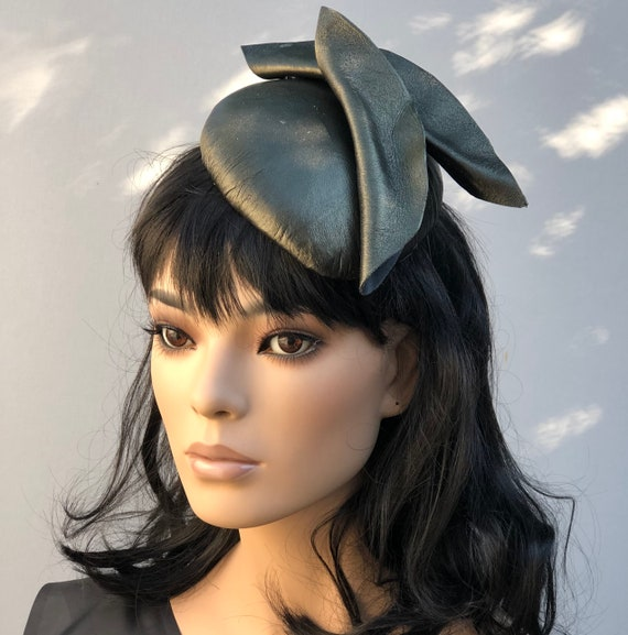 Leather Cocktail Hat, Olive Leather Formal Hat, Olive Leather Fascinator, Percher Hat