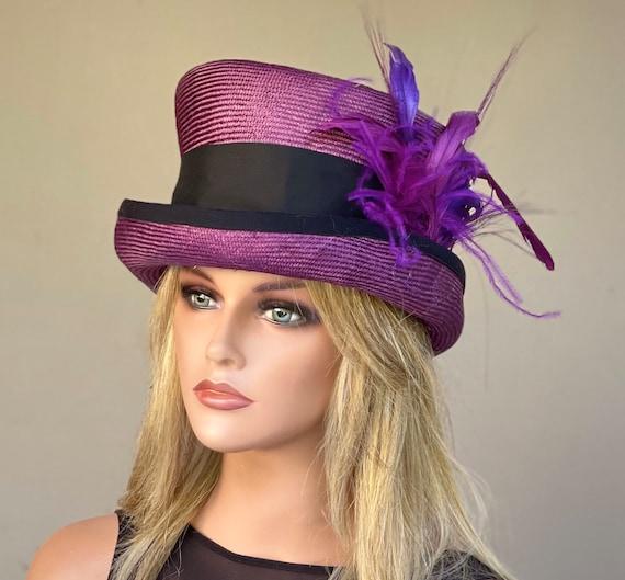 Women's Kentucky Derby Hat, Women's Formal Top Hat, Women's Wine Purple Hat, Wedding Hat, Women's Steampunk Hat, Mad Hatter Hat