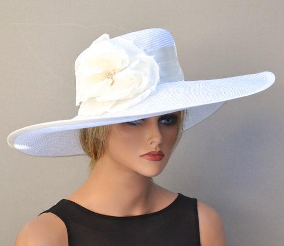 Wedding Hat, White Hat, Wide Brim Hat, Royal Ascot Hat, Ladies Day hat, formal hat