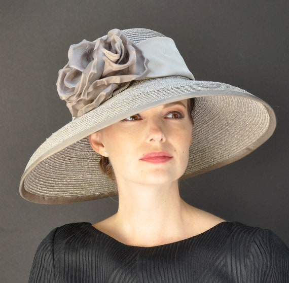 Downton Abbey Hat, Wedding hat, Kentucky Derby Hat, Ladies Formal Hat, Women's Taupe Hat, Audrey Hepburn Hat, Church Hat, Dressy Hat