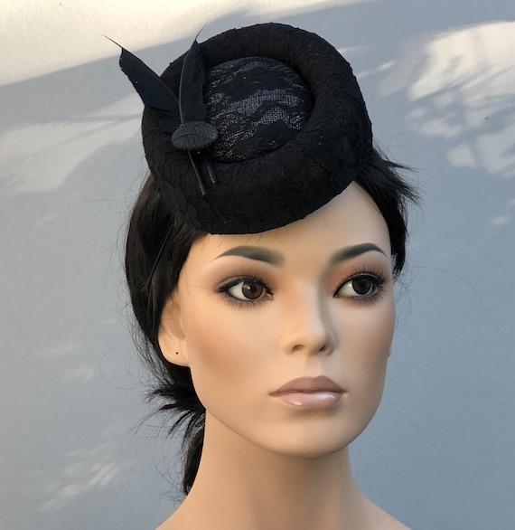 Royal Ascot Hat, Women's Fascinator Hat, Black Formal Cocktail Hat, Ladies Black Percher Pillbox Hat, Kentucky Derby Hat, Pillbox Hat