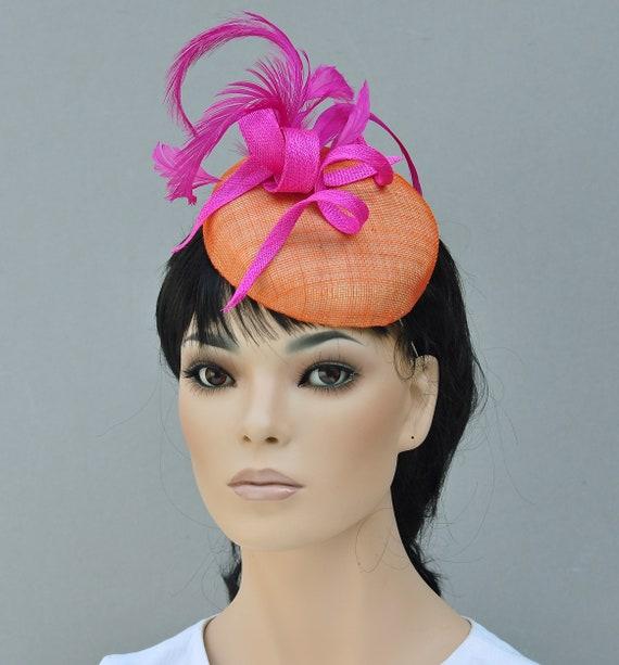 Women's Pink and Orange Fascinator Hat, Ladies Formal Summer Hat, Kentucky Derby Hat, Kate Middleton Hat,
