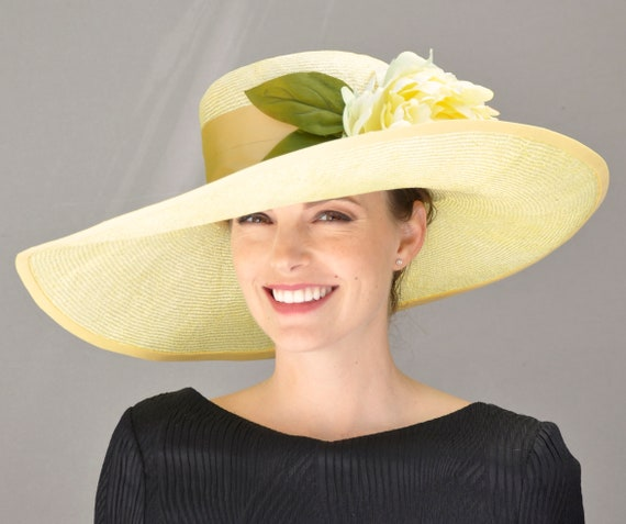 Kentucky Derby Hat, Ladies Yellow Hat, Wedding Hat, Derby Hat, Formal Yellow hat, Dressy Hat
