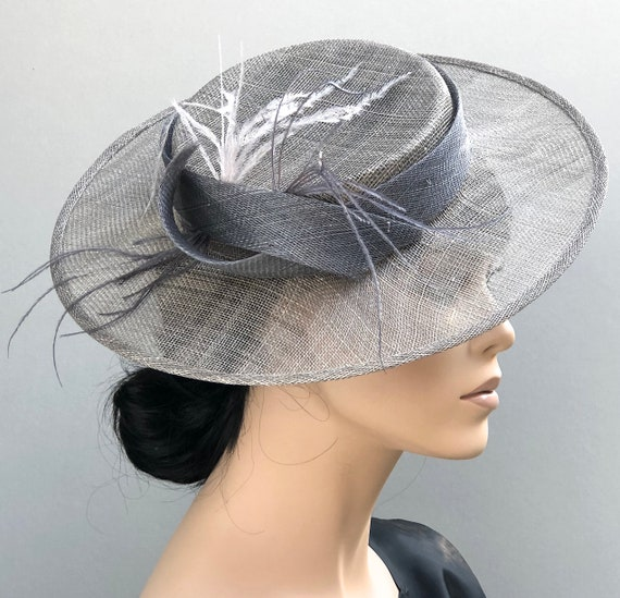 Kentucky Derby Hat, Wedding Hat, Gray Boater Hat, Ladies Formal Hat, Women's Boater Hat