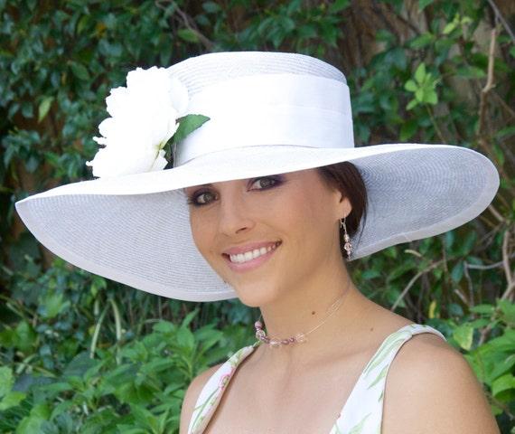 Wedding Hat, Church Hat, Women's White Formal Hat, Wide Brim Hat, Kentucky Derby Hat. Ascot Hat, Occasion Hat, Formal White Hat