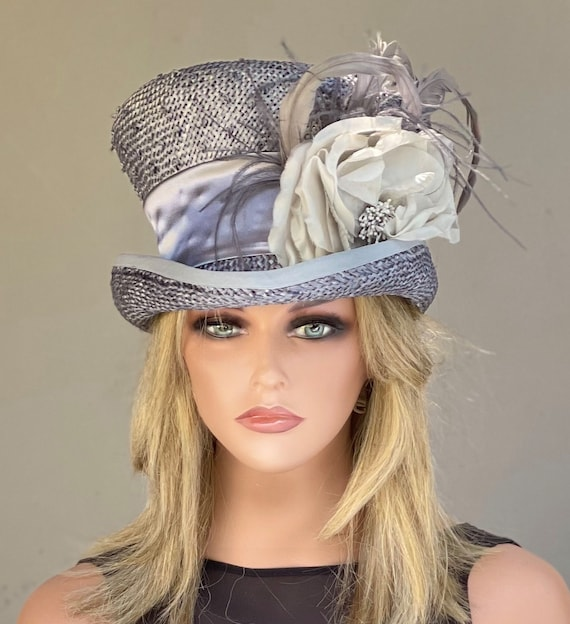 Kentucky Derby Hat, Women's Top Hat, Women's Steampunk Hat, Ladies Gray Silver Formal Hat, Silver Gray Mad Hatter, Special Occasion Hat