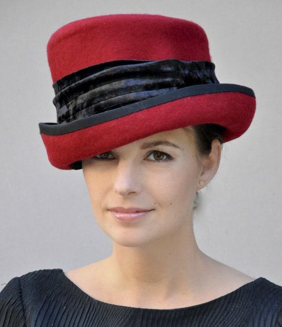 Ladies Red Winter Hat, Formal Wool Felt Hat, Red Top Hat, Formal Winter Hat, Ladies Red Hat, Women's Red Hat
