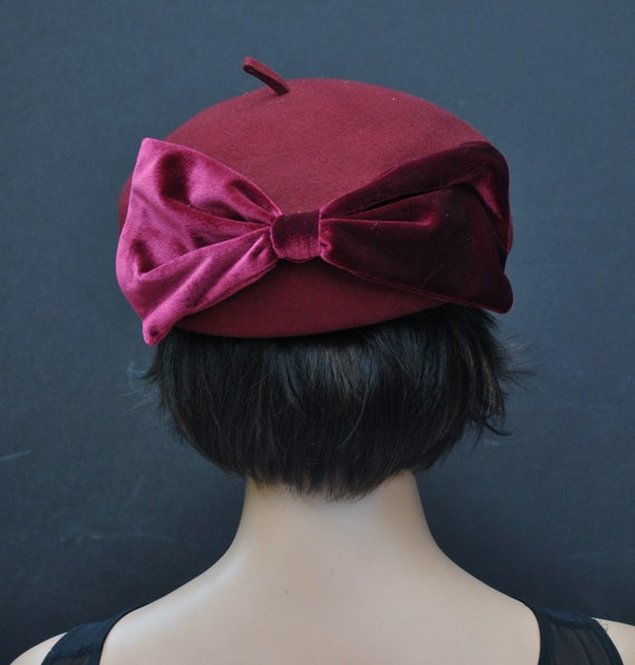 Ladies Winter Hat, Church Hat, Ladies Burgundy Wine Hat, Formal Hat, Formal Wool Felt Hat