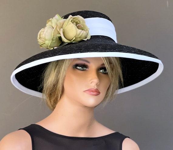 Kentucky Derby Hat, Women's Black and White hat, Special Occasion Hat, Garden Party Hat, Tea Party HatFormal Black Hat, black wide brim hat