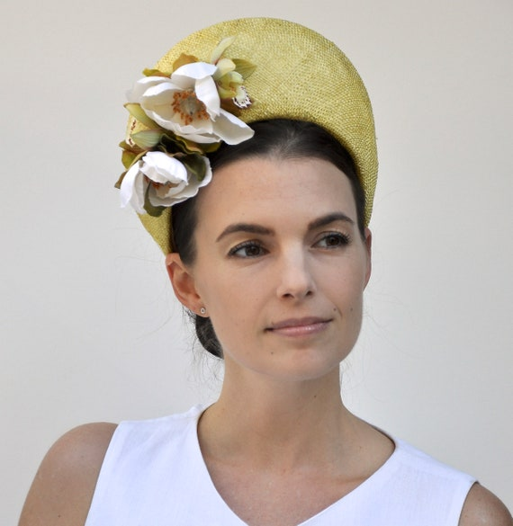 Ladies Yellow Hat, Crown Halo Headpiece, Fascinator Hat, Wedding Hat, Women's Yellow Formal Hat,