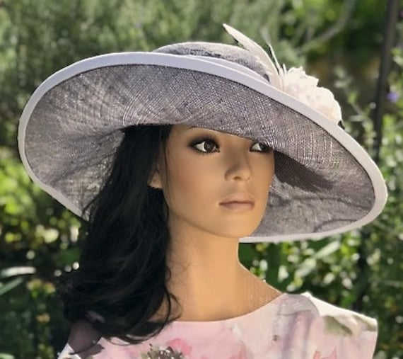 Women's Kentucky Derby Hat, Wedding Hat, Women's Wide Brim Hat, Derby Hat, Ladies Gray Formal Hat, Garden Party Hat