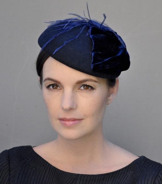 Navy Fascinator, Navy Winter Fascinator Hat, Navy Cocktail Hat, Formal Hat, Pillbox Hat, Dressy Hat