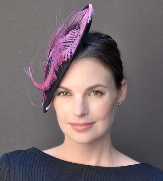 Wedding fascinator hat, Pillbox Hat, Cocktail Hat, Formal Occasion Hat, Black Hat, Pink Hat, Kentucky Derby Fascinator Hat, Dressy Hat