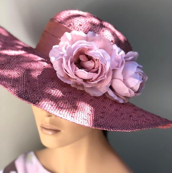 Kentucky Derby Hat, Wedding Hat, Women's Derby Hat, Ladies Formal Hat, Pink Wide Brim Hat, Garden Party Hat, Church Hat