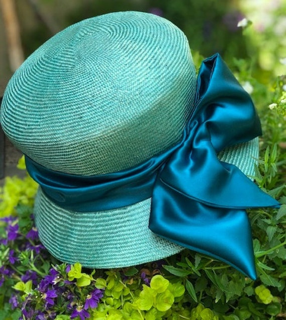 Wedding Hat, Teal Cloche Hat, Women's Formal Hat, Derby Hat, 1920s 1930s Hat, Church Hat Downton Abbey Hat Miss Fisher Hat Couture Millinery