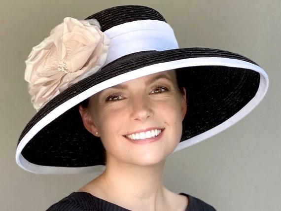Kentucky Derby Hat, Wedding Hat, Women's Wide Brim Black and White Hat, Ladies Formal Hat, Church Hat Royal Ascot Hat