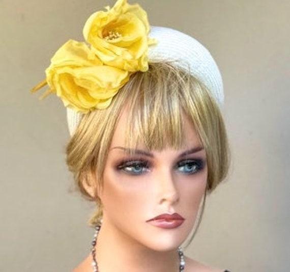 Flower Crown, Wedding Hat, White Yellow Headband Hat, Derby Hat, Duchess Kate Hat, Women's Fascinator Hat, Halo Headband