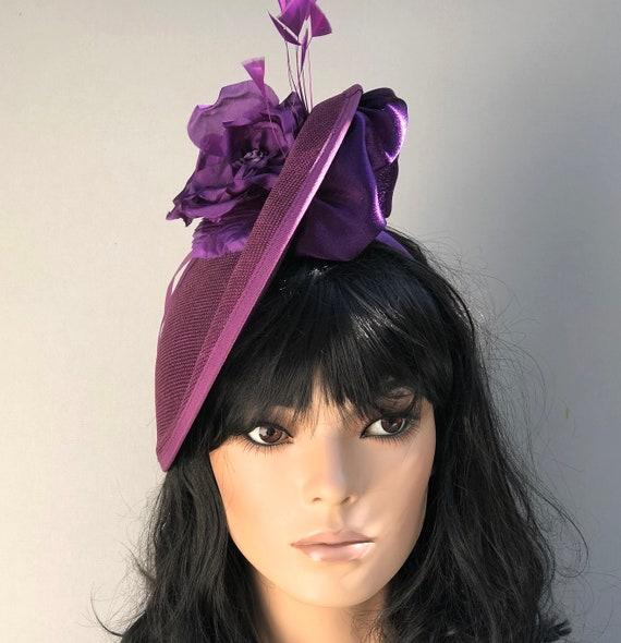 Purple Kentucky Derby Hat, Wedding Hat, Ladies Purple Saucer Hat, Women's formal Hat