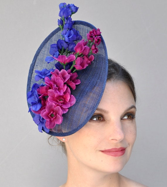 Wedding Hat, Kentucky Derby Hat, Ladies Pink and Blue Hat, Tea Hat, formal special occasion hat, festive hat, Duchess Hat