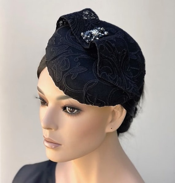 Black Brocade Fascinator Hat, Women's Formal Hat, Wedding Hat, Ladies Formal Hat, Special Occasion hat, Funeral Hat