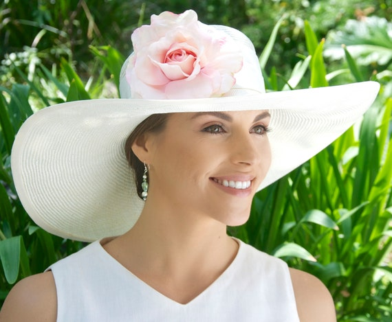 Wedding Hat, Kentucky Derby Hat, Women's White Ivory hat, Wide Brim Hat, Ladies Formal Hat, Garden Party Hat