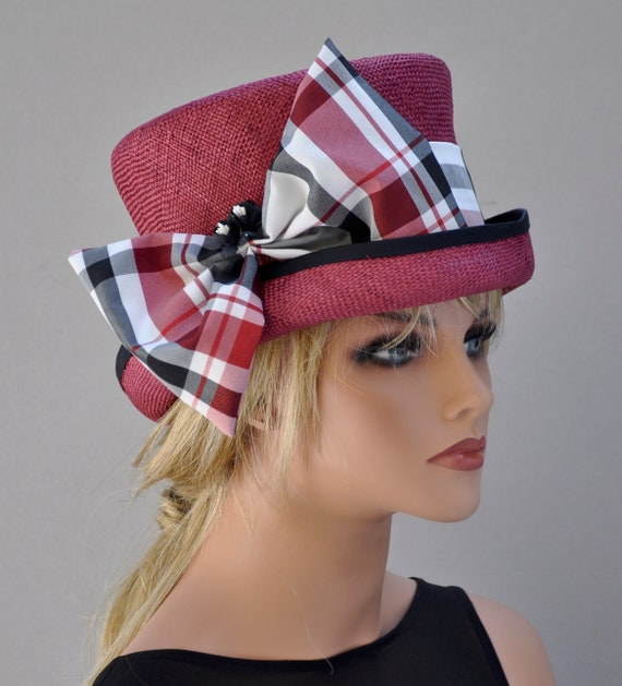 Elegant Plaid Hat, Red White & Black hat, Wedding Hat, Church Hat, Formal Hat, Dressy Hat,  Special Occasion hat