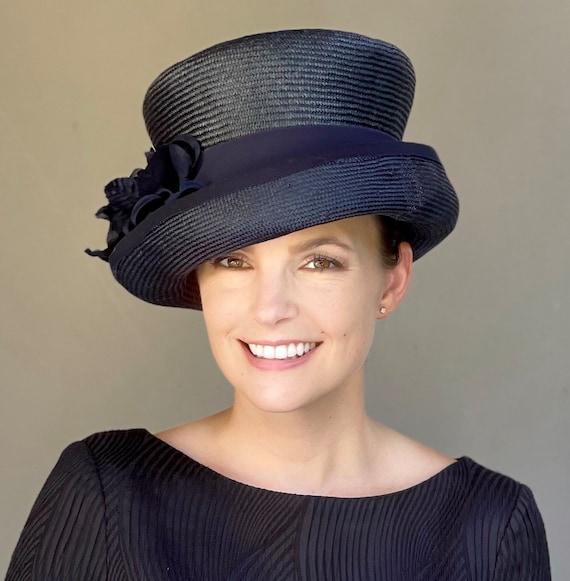 Ladies Navy Hat, Women's Navy Straw Hat, Women's Derby Hat, Wedding Hat, Special Occasion Hat, Ladies Formal Top Hat