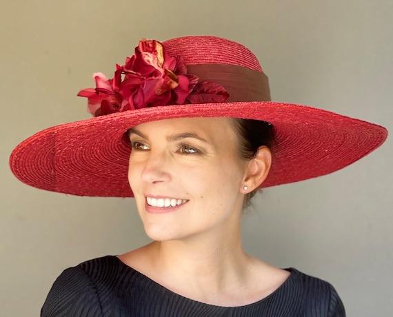Women's Kentucky Derby Hat, Wedding Hat, Women's Wide Brim Hat, Derby Hat, Ladies Gray Formal Hat, Garden Party Hat