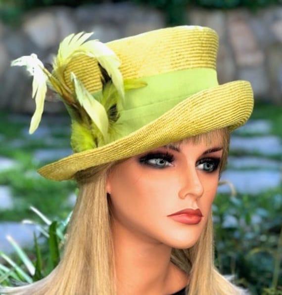 Kentucky Derby Hat, Women's Chartreuse Lime Derby Hat, Wedding Hat,