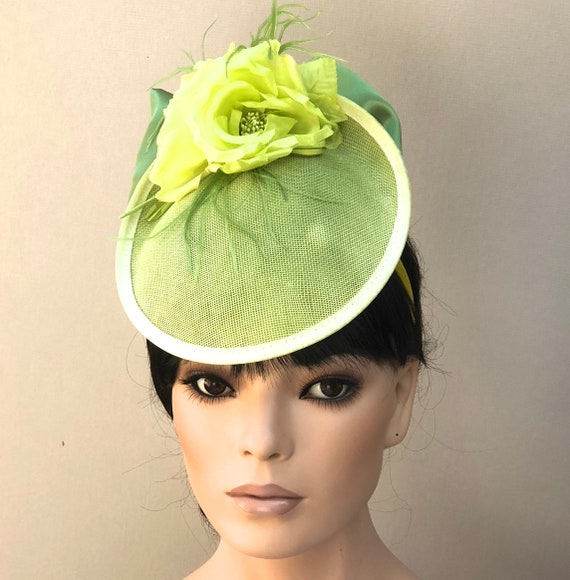 Kentucky Derby Hat, Women's Lime Green Hat, Ladies Formal Hat, Kate Middleton Hat, Duchess hat, Women's Fascinator Hat, Royal Ascot hat