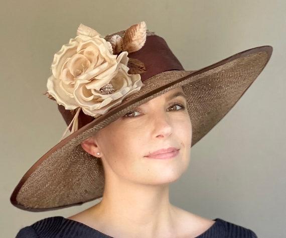 Kentucky Derby Hat, Wedding Hat, Church Hat, Wide Brim Hat, Ladies Formal Brown Straw Hat, Special Occasion Hat, Women's Formal Hat