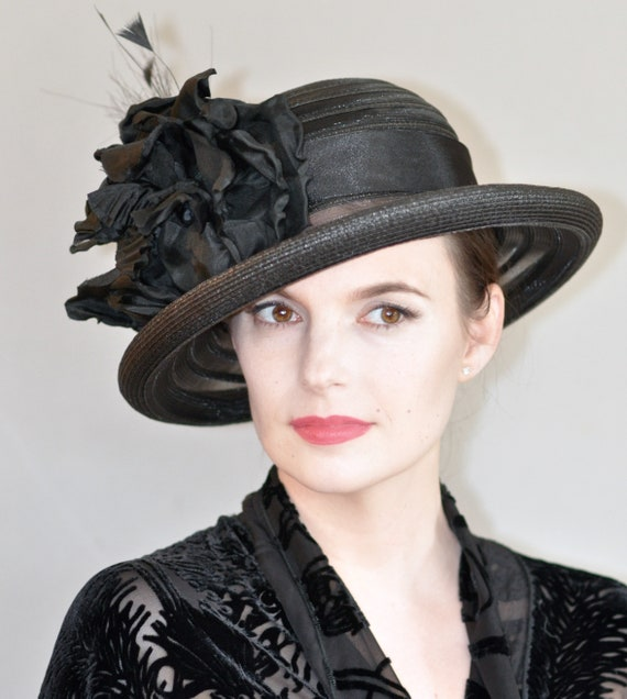 Kentucky Derby Hat, Wedding Hat, Ladies Black Hat, Funeral Hat, Women's Black Hat, Ascot Hat, Derby Hat, Formal Hat, Occasion Hat