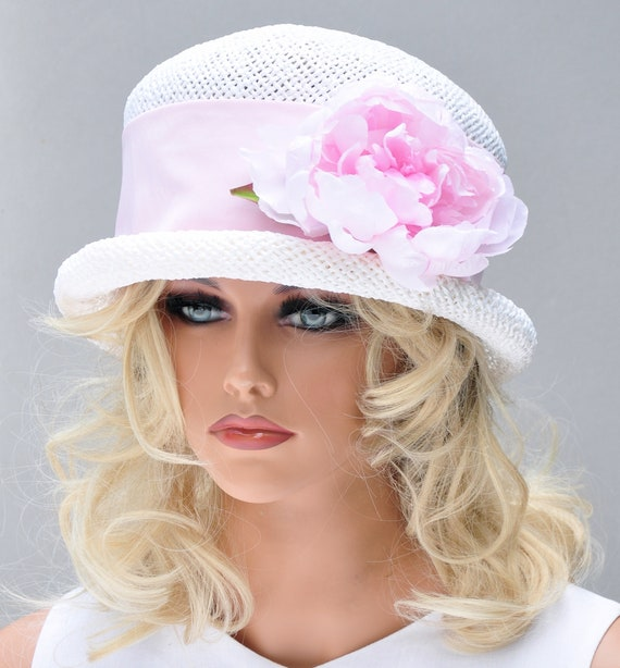 Tea Party Hat, Wedding Hat, Ladies Pink and White Hat, Kentucky Derby Hat, Garden Party Hat, Women's formal hat